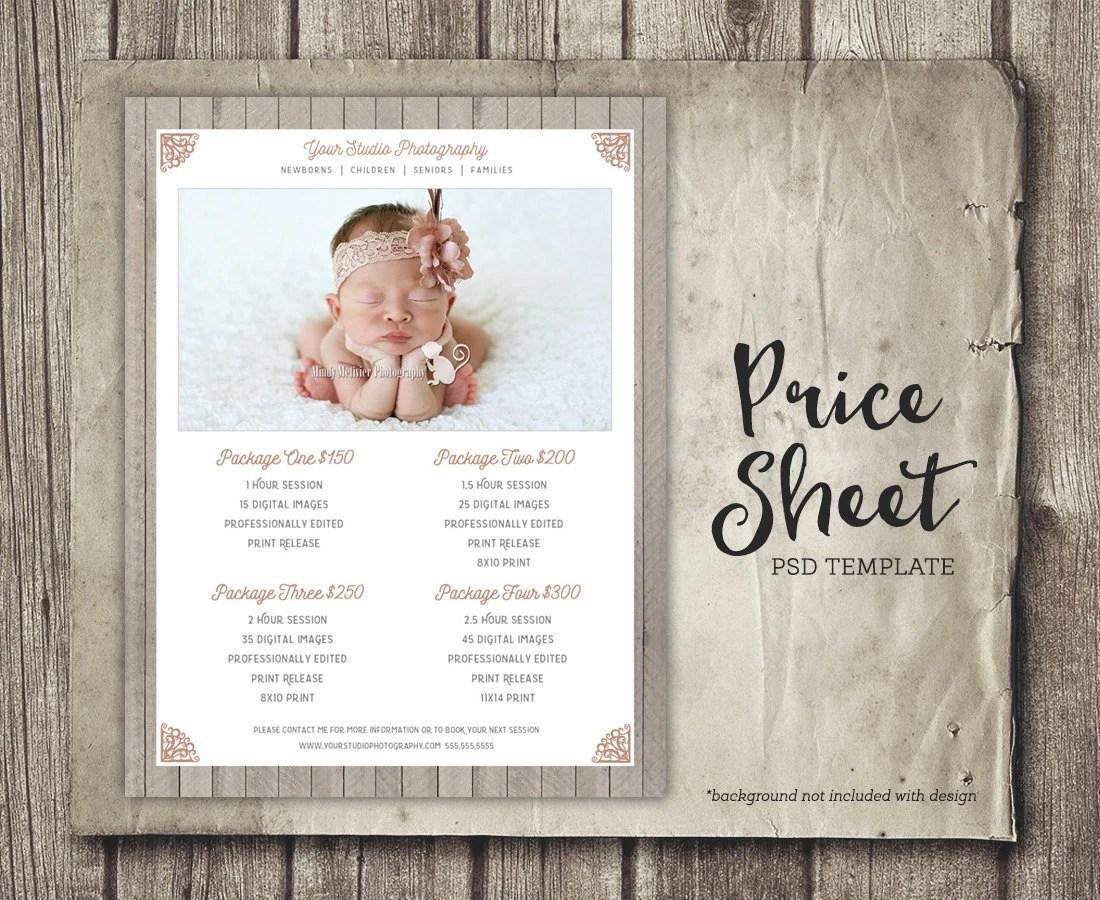 Price Sheet Template Price List Marketing Photoshop Etsy