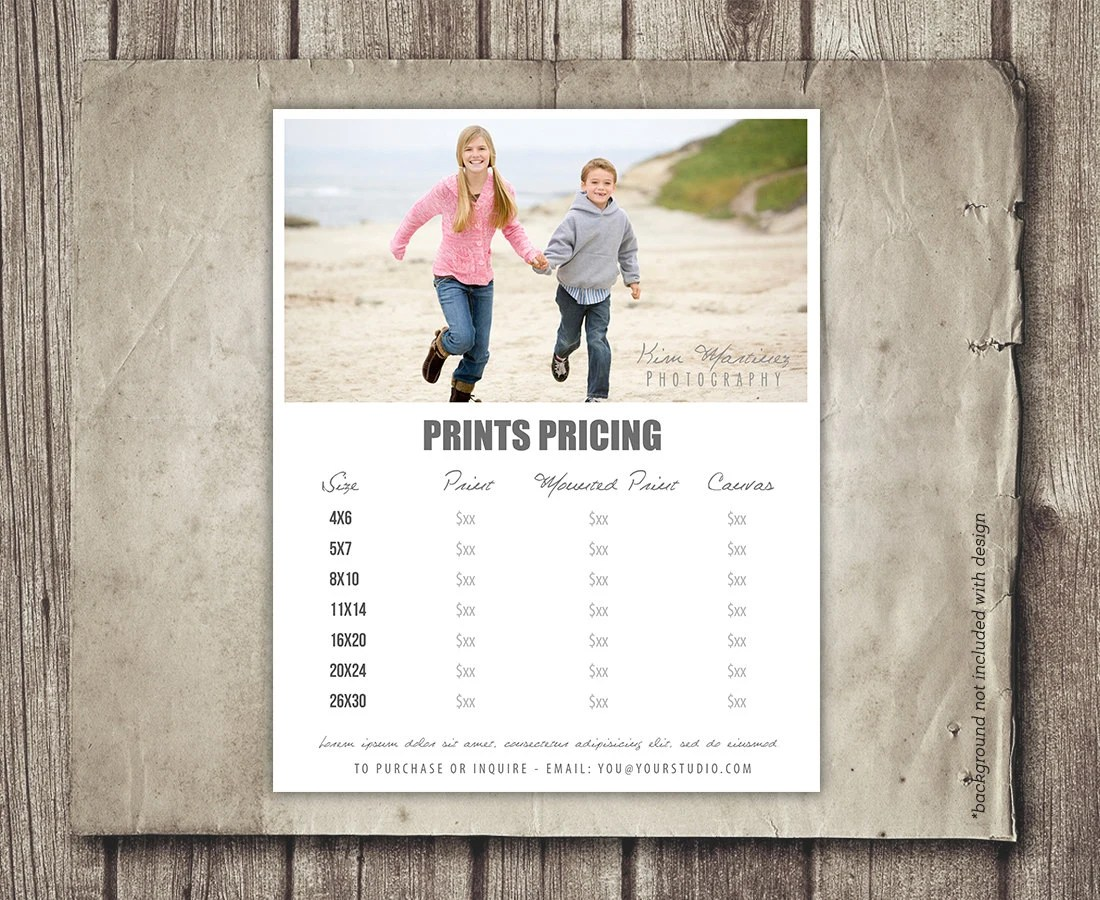 Photography Template Price Sheet Photography Price List Etsy