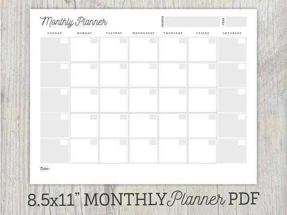 Monthly Planner Printable Undated Calendar Organization Etsy