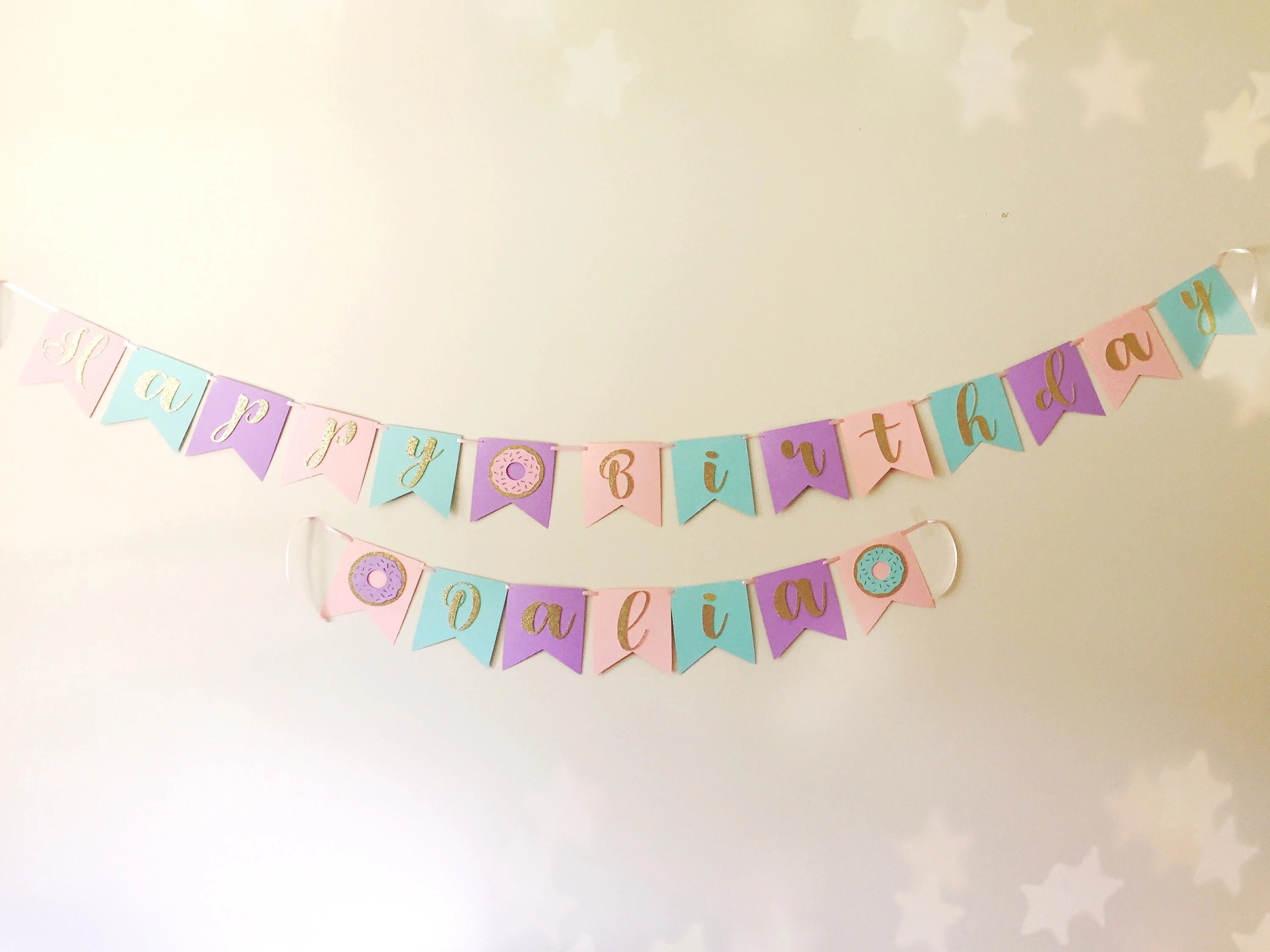 Donut Happy Birthday Banner Donut Name Banner Donut Birthday Etsy