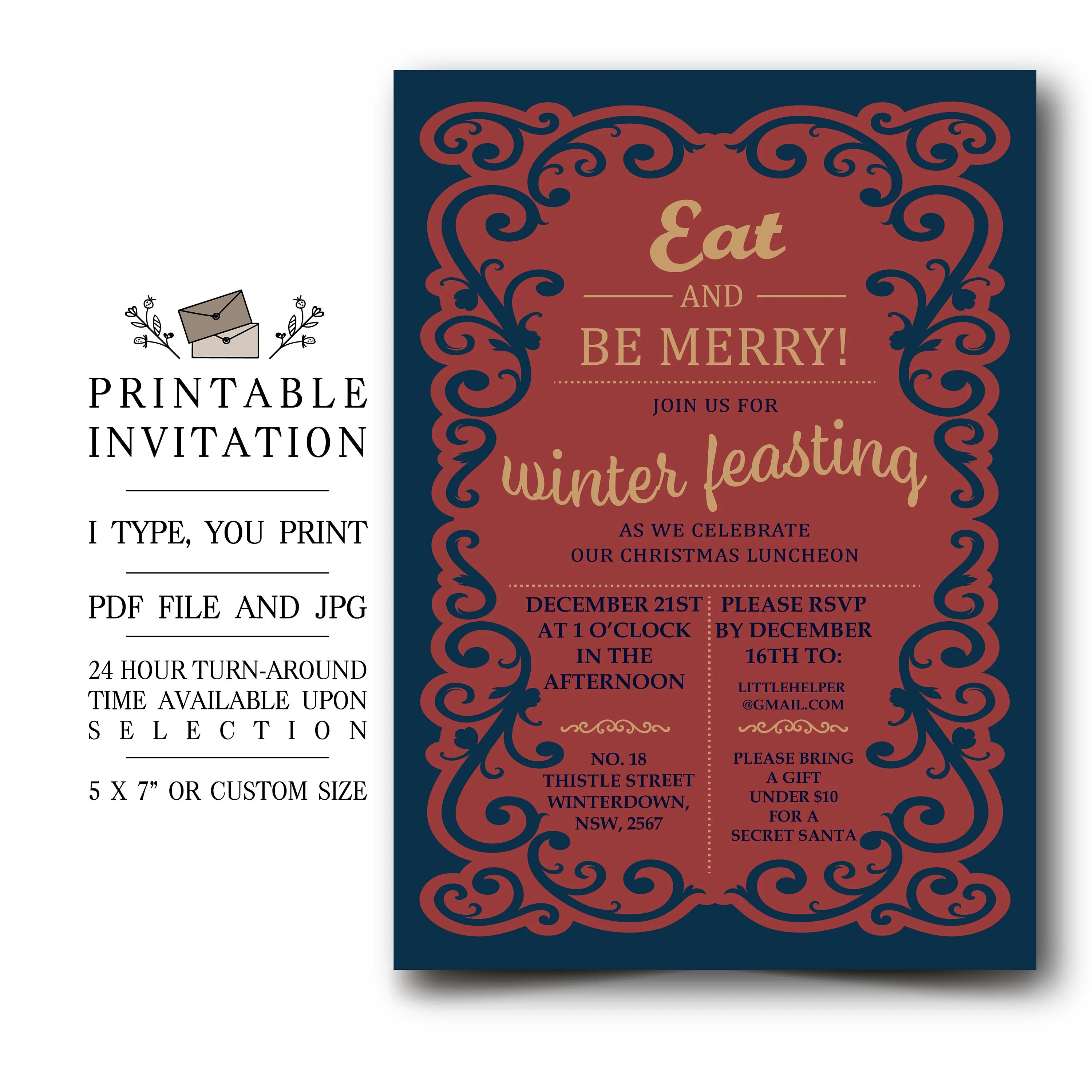 Christmas Luncheon Party Invitation, Printable Victorian Winter