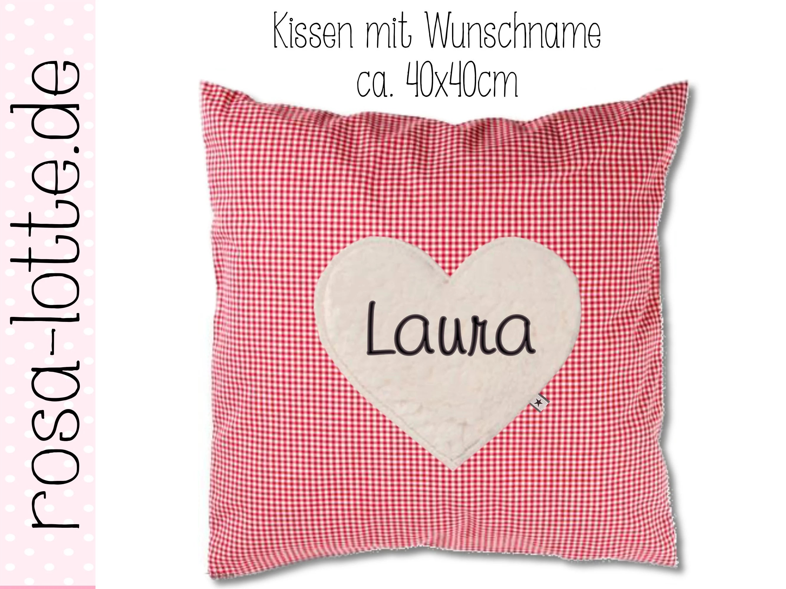 Kopfkissen 40x40 Pillow 40 X 40 Cm Vichy Red Wish Name