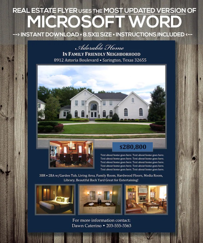 REAL ESTATE FLYER Template Microsoft Word docx Version Etsy