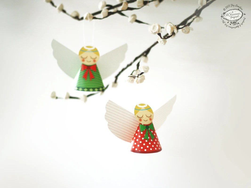 DIY Paper Christmas Angels Papercraft Red n Green Ornaments Etsy