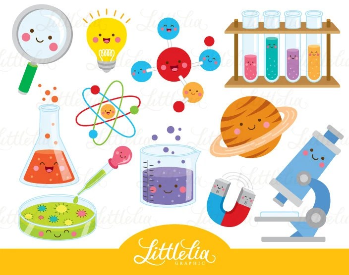 Science kawaii clipart Scientist clipart 16035 Etsy