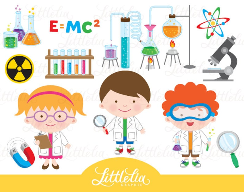 Science clipart scientist clipart 15044 Etsy