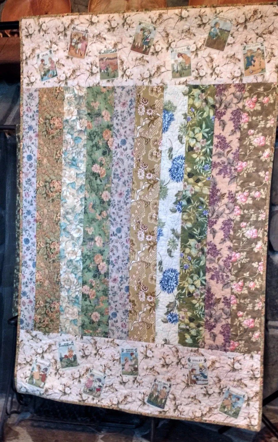 Sofa Quilting Fabric Lap Quilt Sofa Quilt Floral Fabrics Fabric Seed Packet Applique 42 By 65 Inches