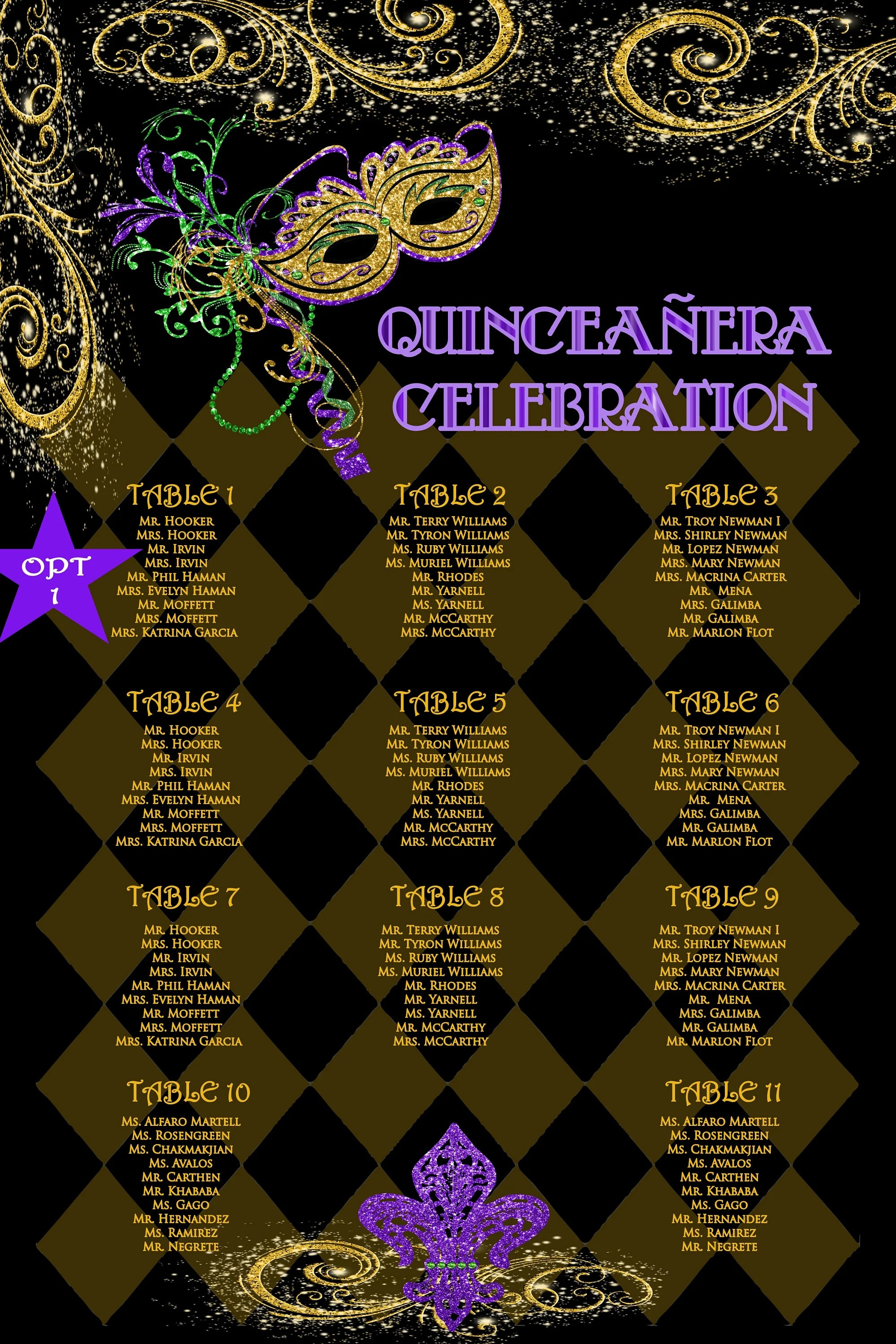 Quinceanera seating chart wedding seating chart mardi gras Etsy