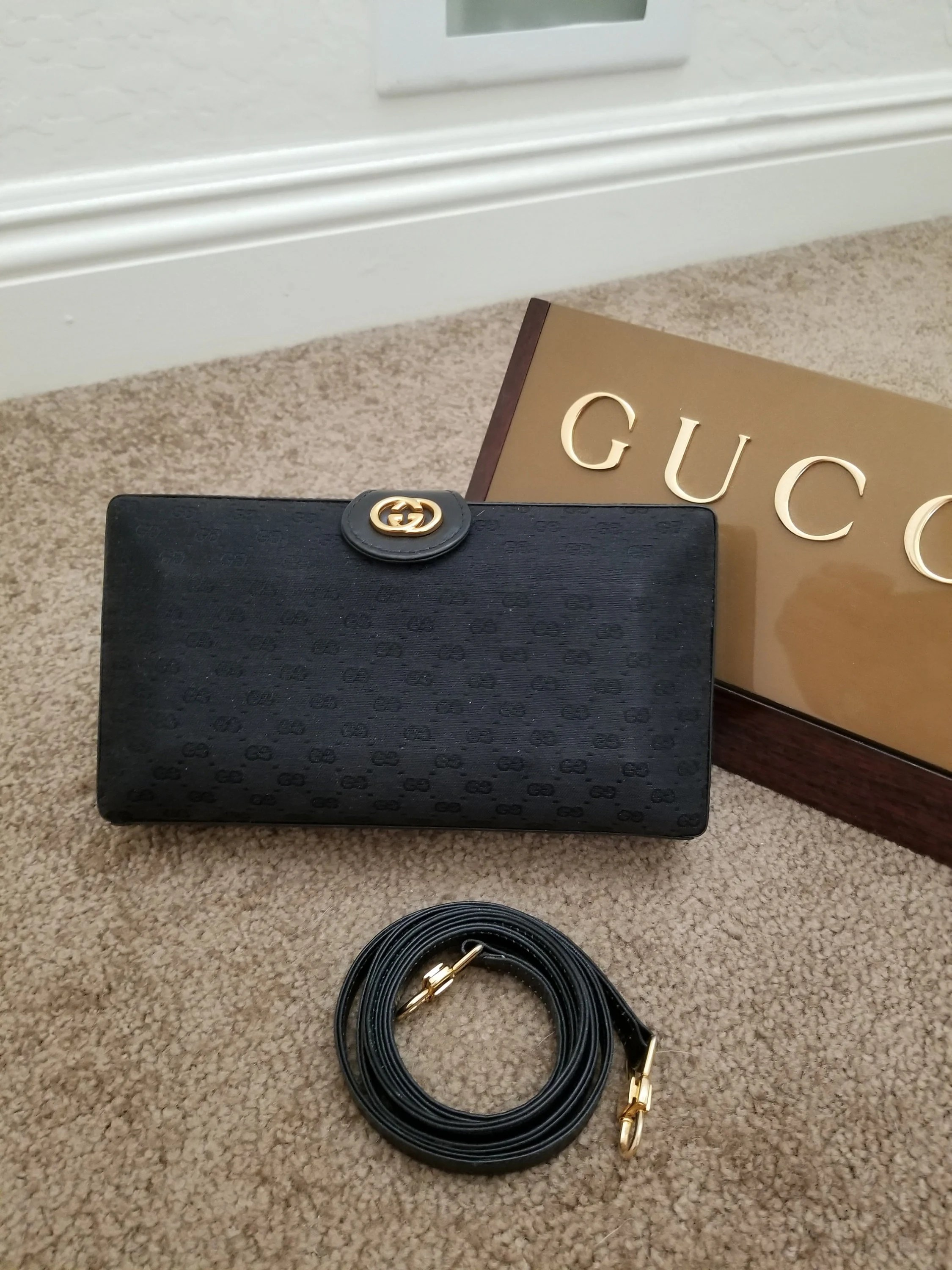 Etsy Vintage Gucci Vintage Gucci Micro Gg Black Convertible Clutch Shoulder Bag Or Cross Body