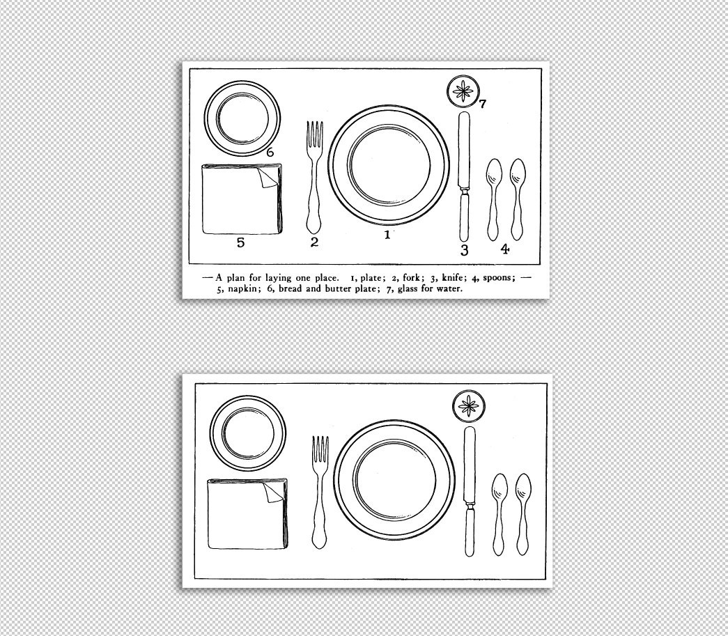 Dinner Table Setting Graphic Table Plate Setting Chart Etsy