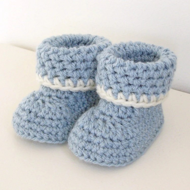 Crochet pattern Cozy Cuffs Baby Booties folded cuff worsted Etsy