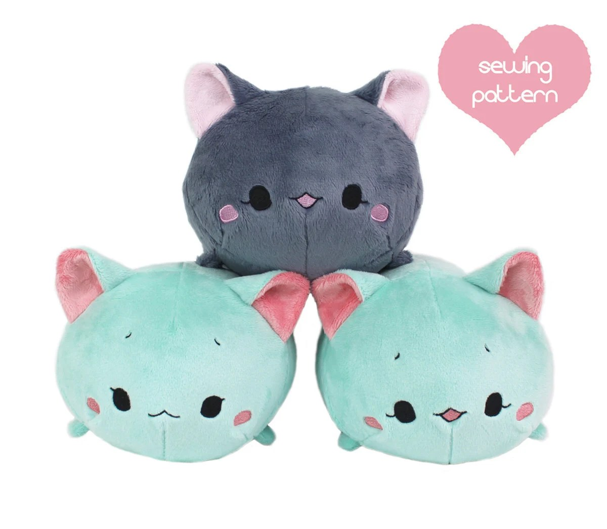 Cat Plush Toy Pdf Sewing Pattern Cat Roll Plush Stacking Loaf Plushie Easy Furry Cute Anime Kawaii Stuffed Animal Diy Softie Plush Toy Teacuplion