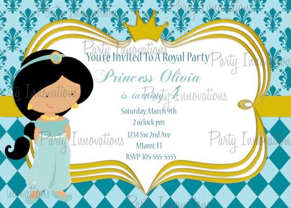Printable Princess Jasmine Birthday Party Invitation by Party