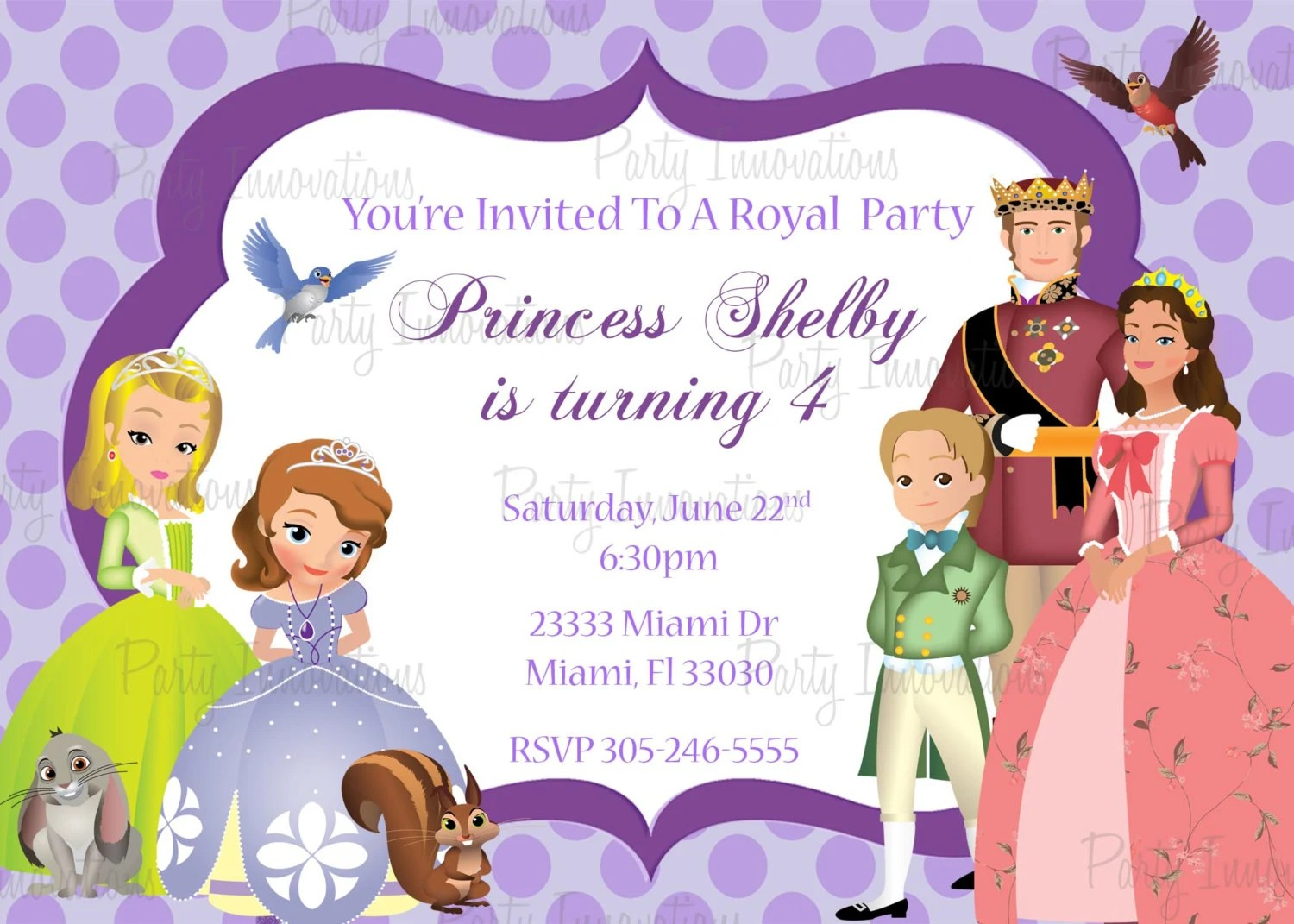 Printable Sofia The First Birthday Party Invitation Etsy