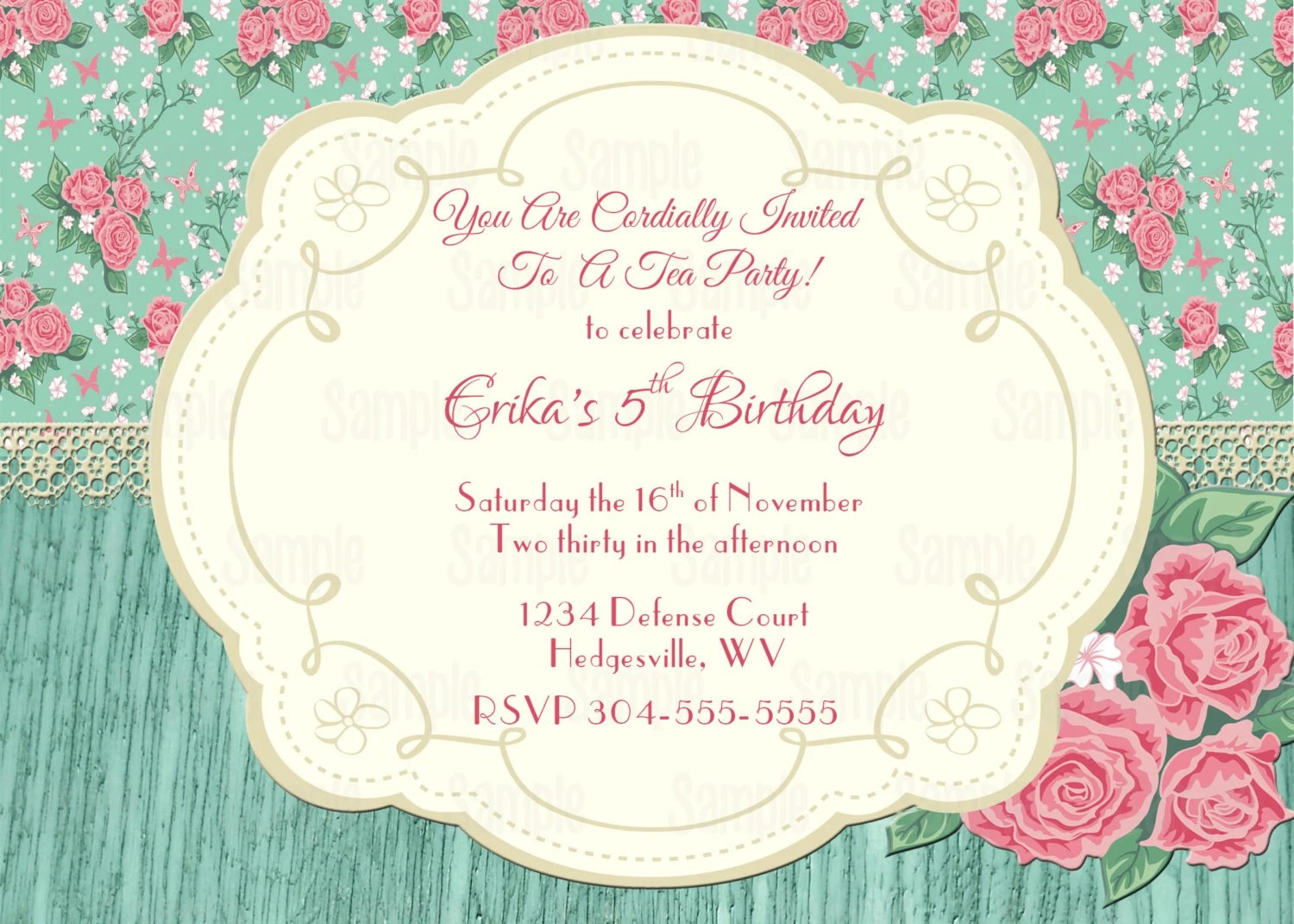 Printable Shabby Chic Vintage tea party, Baby Shower or Bridal