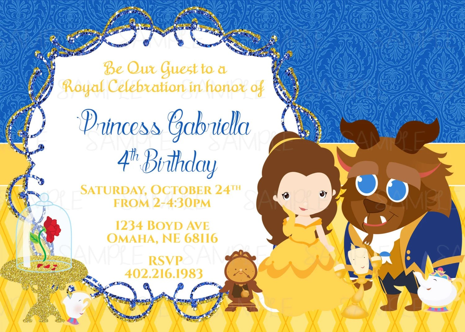 Printable Belle Birthday Party Invitation By Party