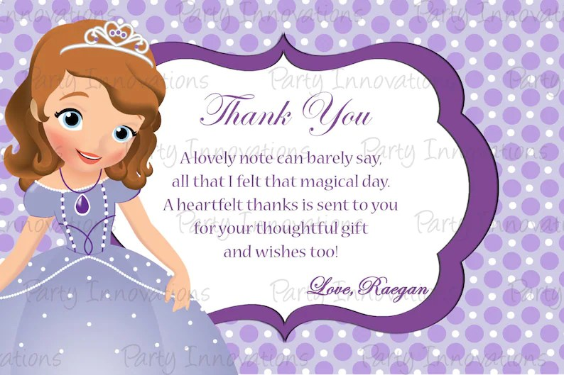Printable Sofia The First Inspired Thank You Card Etsy