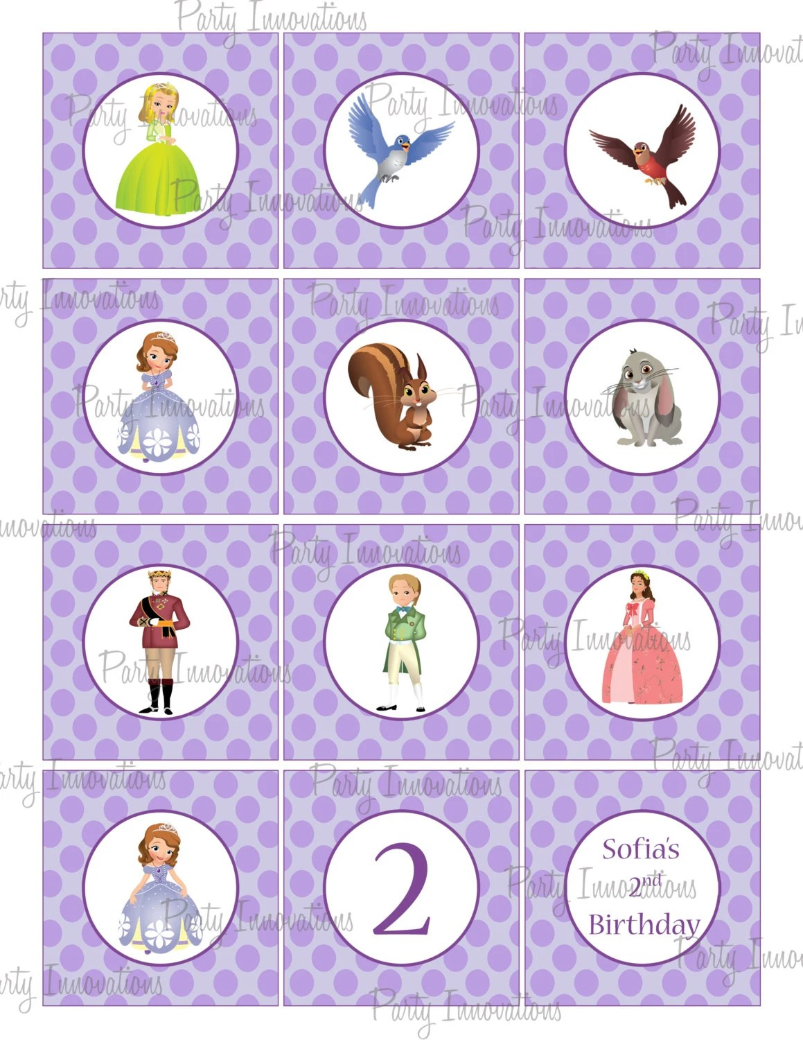 Printable Sofia The First Cupcake Toppers by Party Innovations
