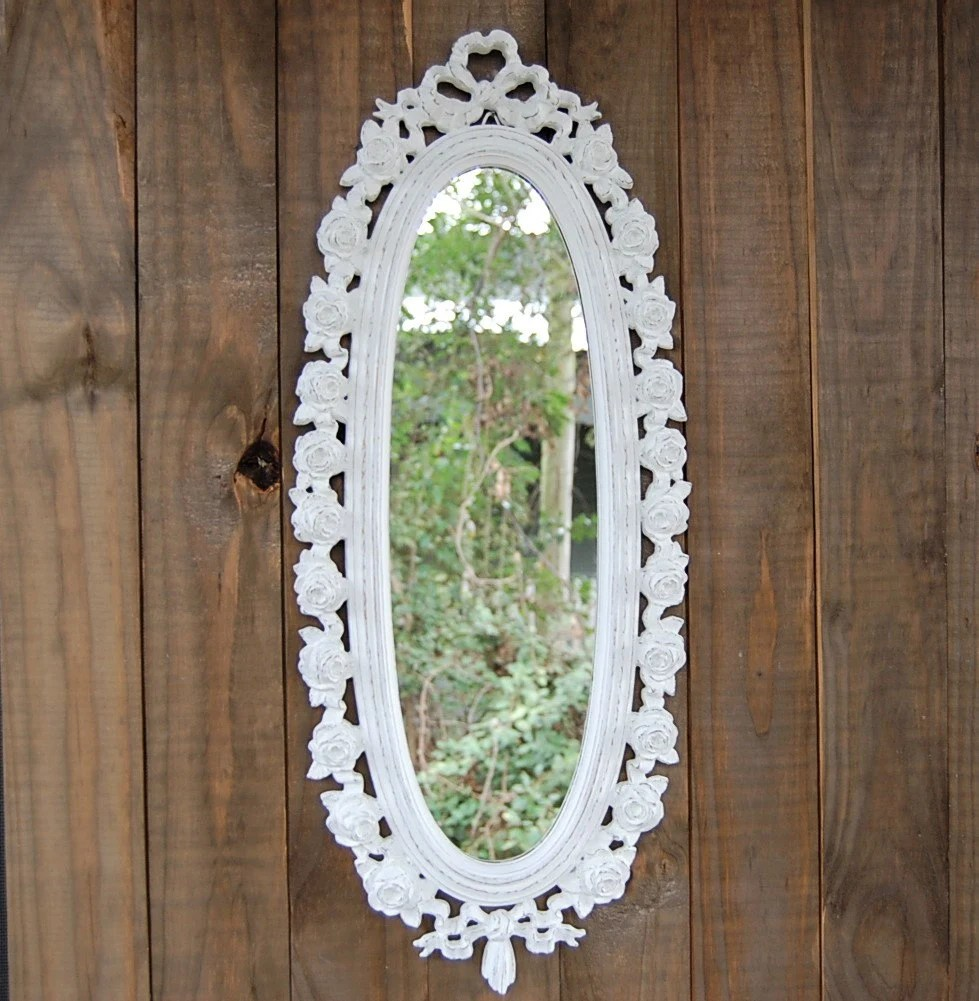 Shabby Chic Vintage Nursery Vintage Painted Shabby Chic Oval Mirror