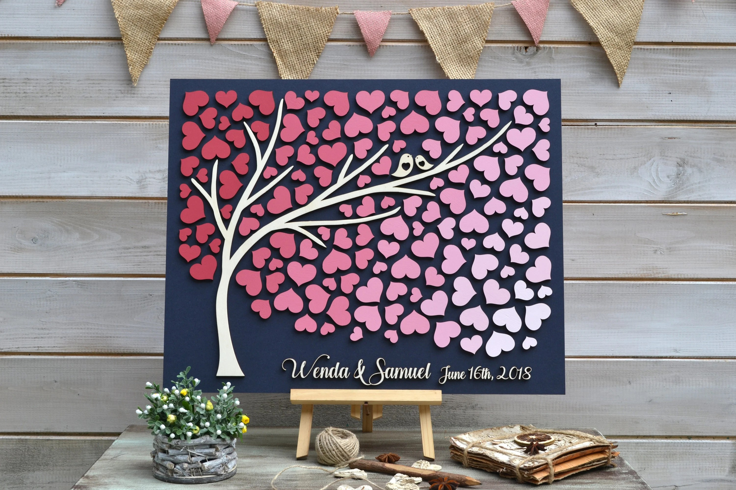 Custom guest book 3D Guest book Rustic guestbook Pink Guest Etsy