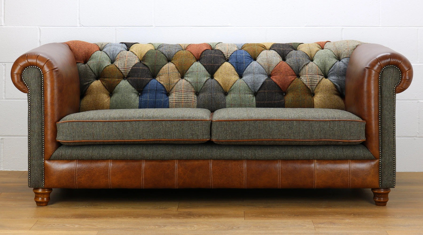 Canapé Chesterfield Patchwork Harris Tweed Chesterfield 3 Seater Sofa