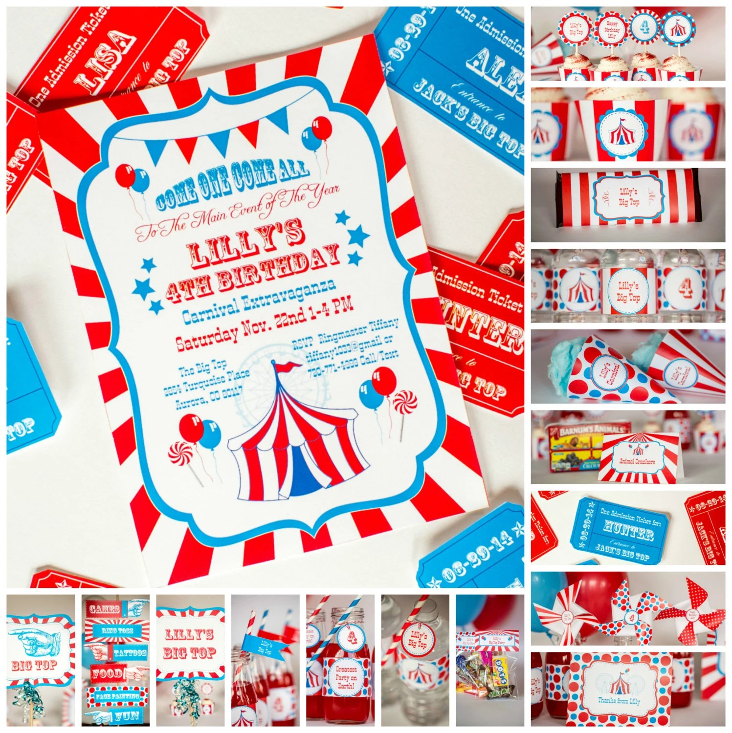 Carnival Party Kit with Invitation Personalized Carnival Etsy
