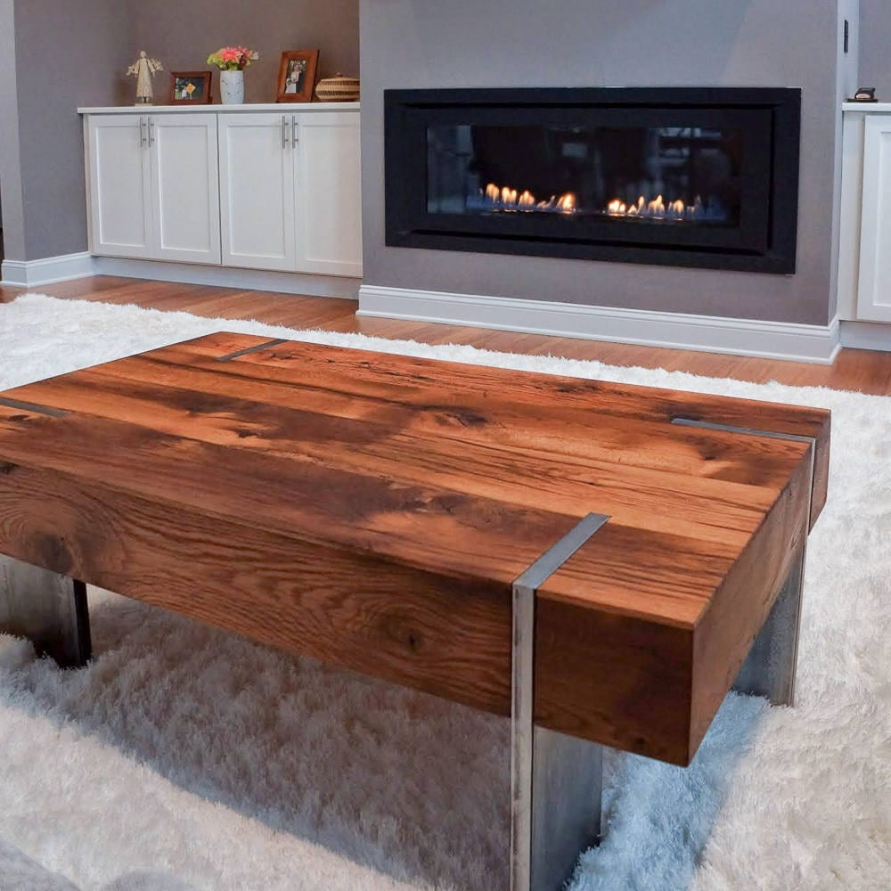 Solid Timber Coffee Table Modern Coffee Table Made From Reclaimed Oak Wood Solid Steel Legs