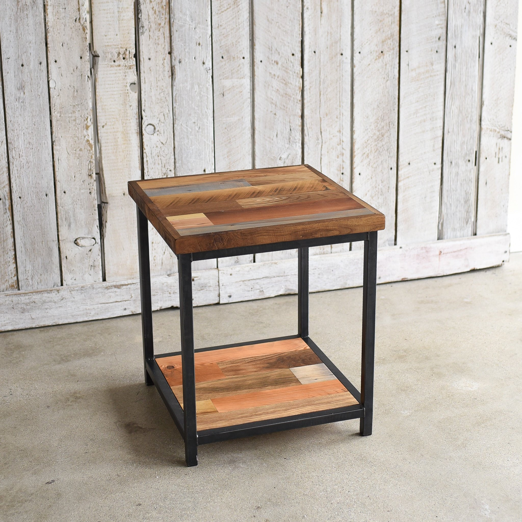 Rustic Wood End Table Rustic Accent Table Reclaimed Wood End Table Lower Shelf