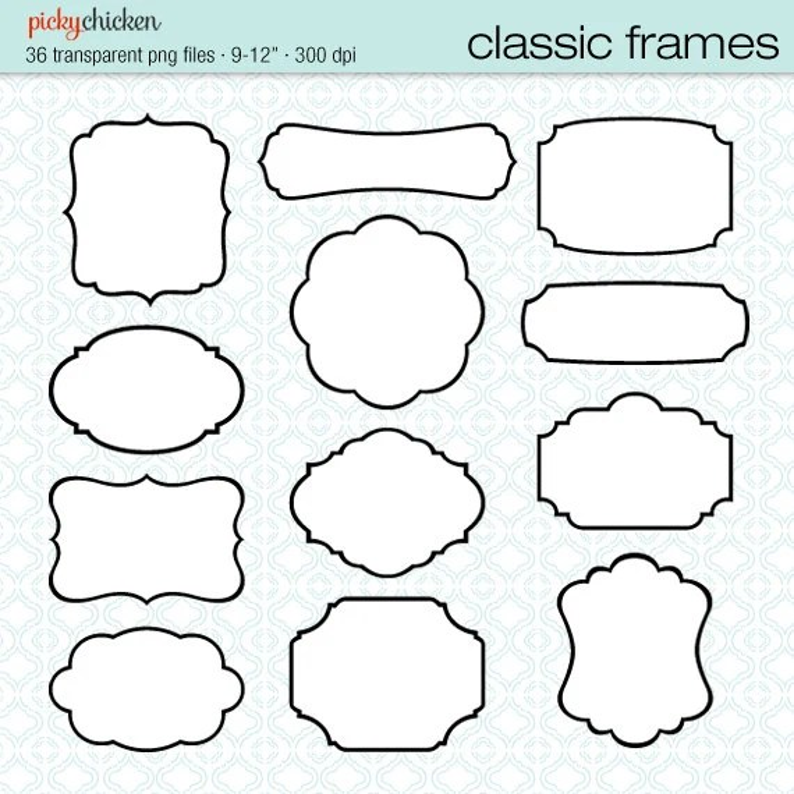 36 Classic Frames black white digital printable labels clip Etsy
