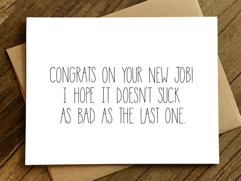 Funny New Job Congratulations New Job Card New Job Etsy