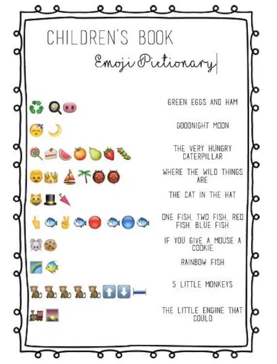 Children\u0027s Book Emoji Pictionary Baby Shower Etsy