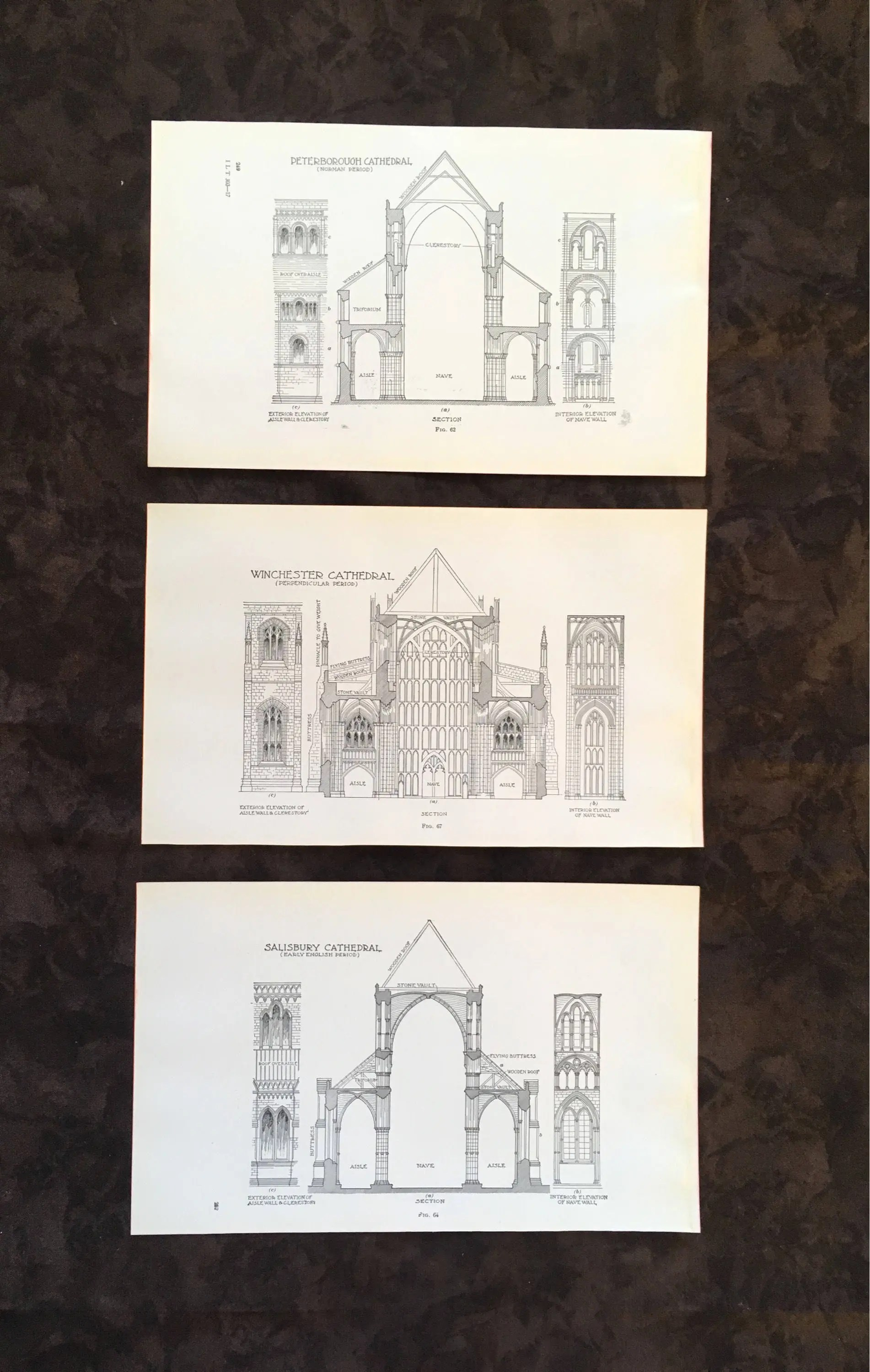Vintage Architectural Blueprints 1928 Architectural Illustration Vintage Book Page Blueprints Historic Structure Building Black And White Design Cathedral Print Wall Art