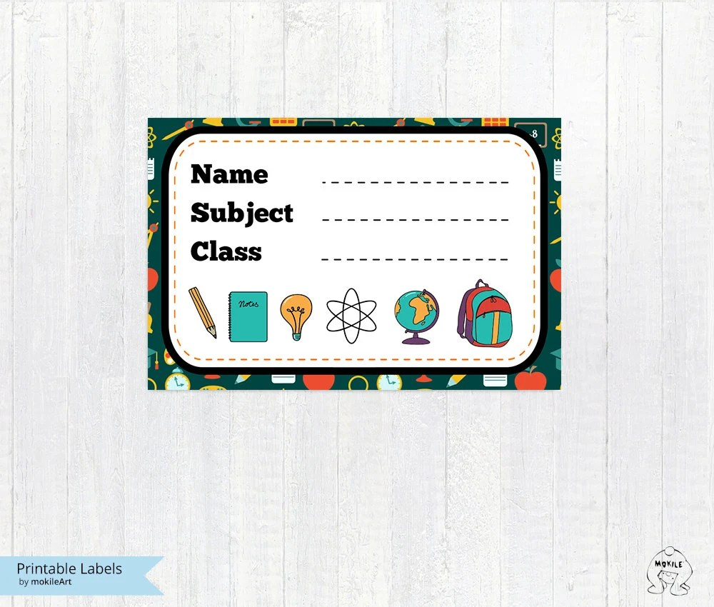 Printable school labels tags-Labels Printable-Labels-School Etsy