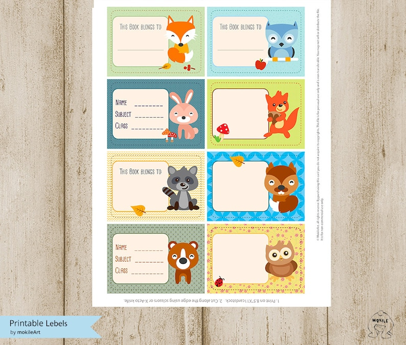 Bookplates or Labels animals Set Back to School Labels Etsy
