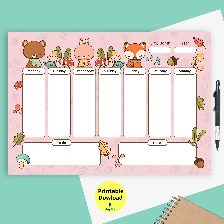 Kids daily schedule planner Printableprintable Etsy