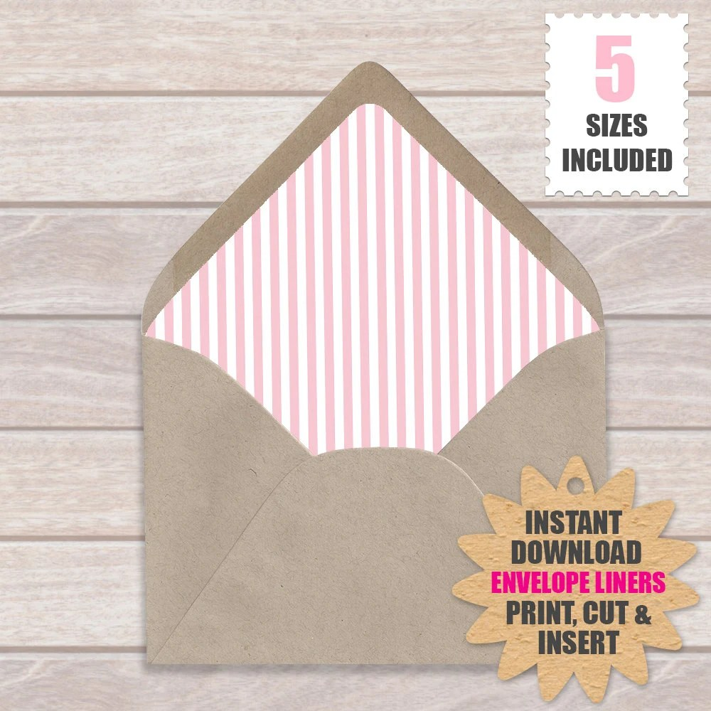 Pink And White Stripe ENVELOPE LINERS European Style Printable - a7 envelope liner template