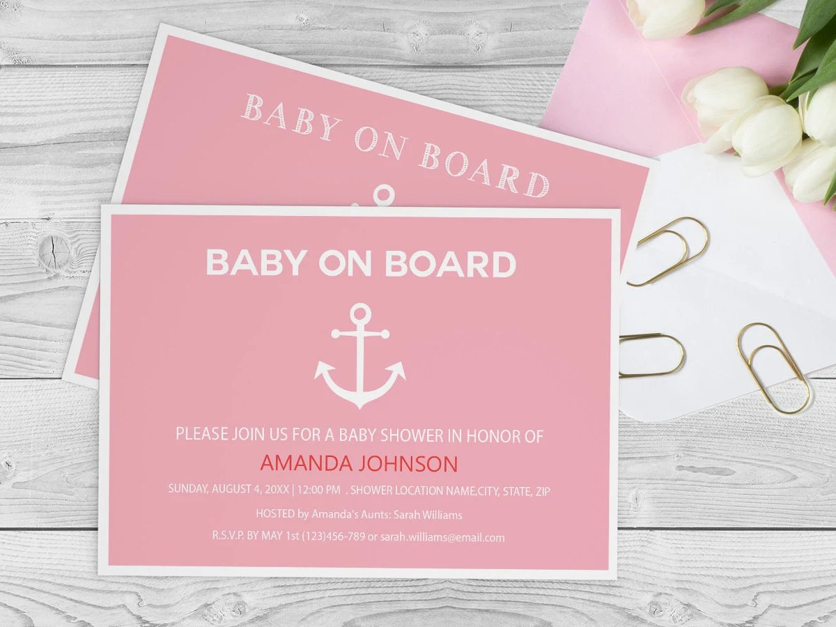 Nautical Baby on Board Baby Shower Template Etsy