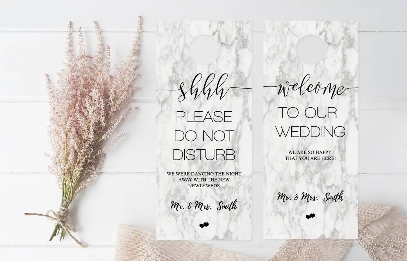 Marble Wedding Door Hanger Template Please Do Not Disturb Etsy