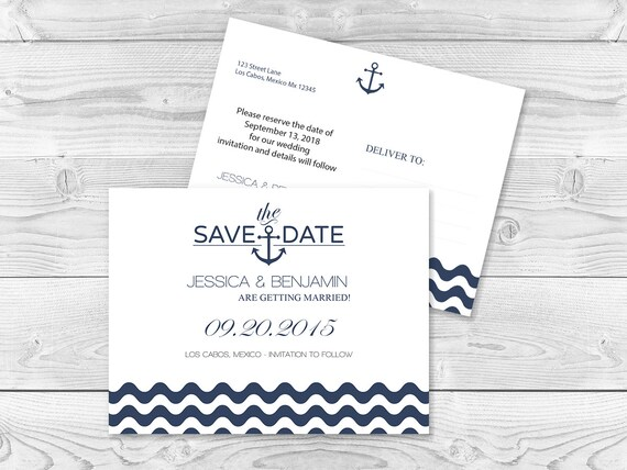 Nautical Save the Date Postcard Templates Navy Anchor Wave Etsy - save date postcard