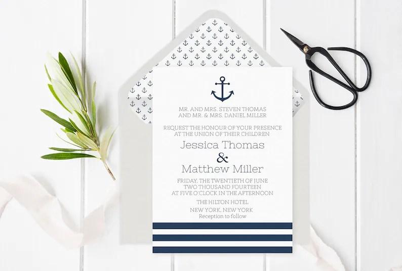 Nautical Wedding Invitation Template Anchor  Striped Etsy