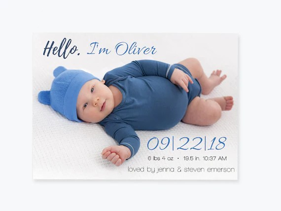 Photo Birth Announcement Invitation PDF Template Baby Boy Or Etsy