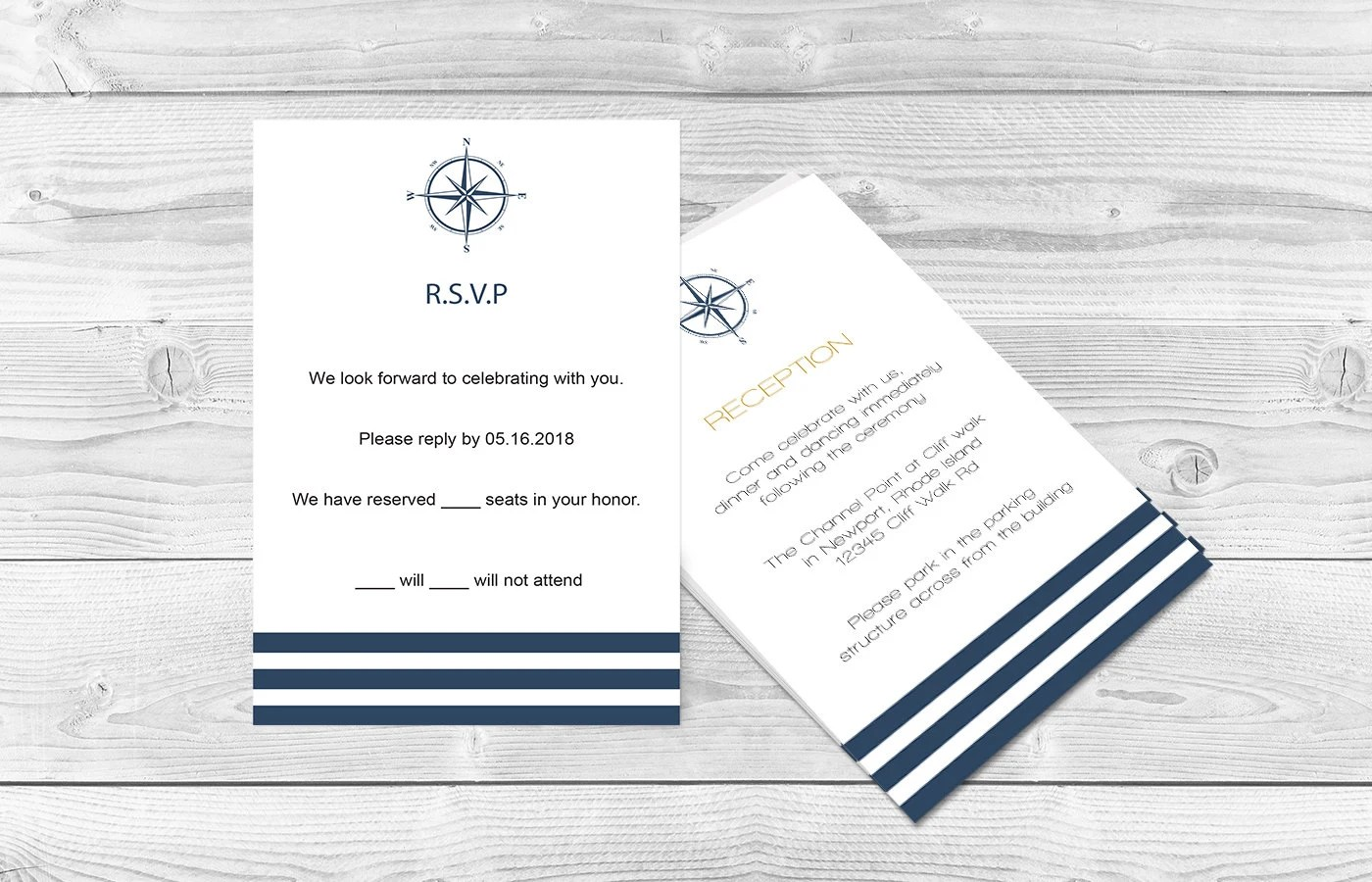 Nautical Wedding RSVP Card Navy Compass  Stripes Printable Etsy