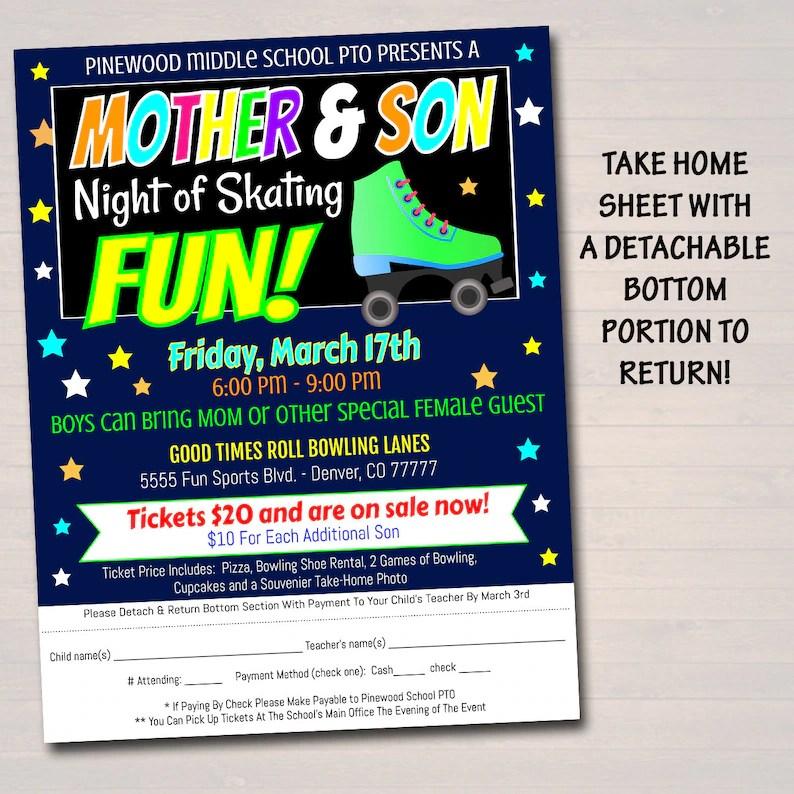 EDITABLE Mother Son Skate Night Flyer Invite Set School Etsy