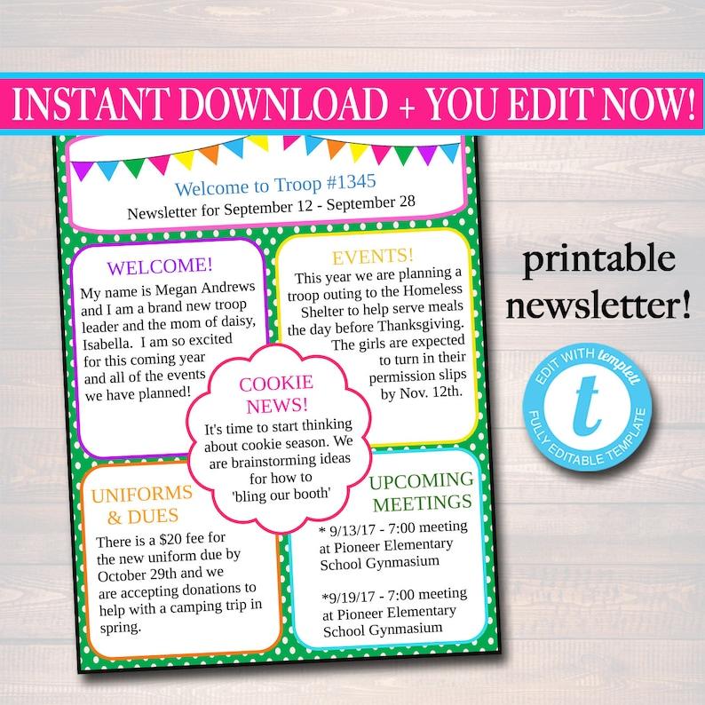 EDITABLE Newsletter Template INSTANT DOWNLOAD Teacher Etsy