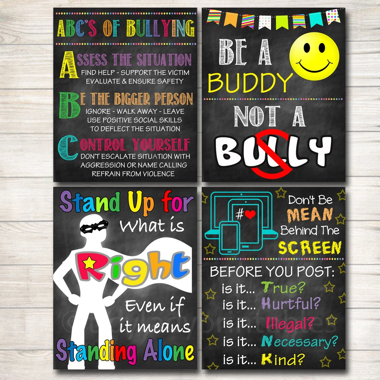 Anti Bully Poster Pack Classroom Decor Counselor Office Etsy