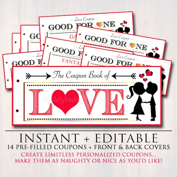 EDITABLE Love Coupon Book INSTANT DOWNLOAD Printable Love Etsy