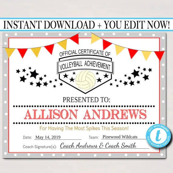 EDITABLE Volleyball Certificates INSTANT DOWNLOAD Volleyball Etsy