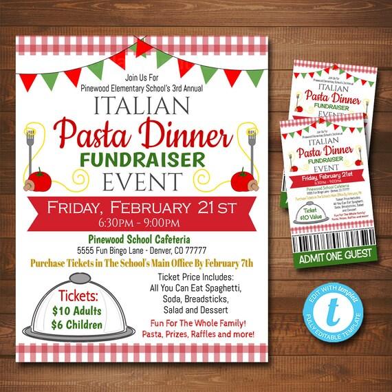 EDITABLE Spaghetti Dinner Fundraiser Flyer Ticket Set pto Etsy
