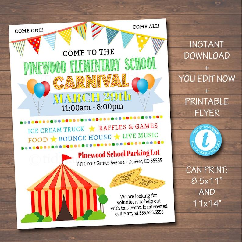 EDITABLE Carnival Flyer Printable PTA PTO Flyer School Etsy