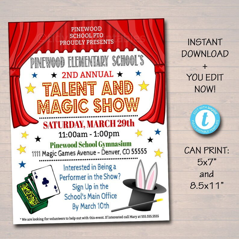 EDITABLE Talent Show Flyer Printable PTA PTO Flyer School Etsy